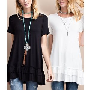 ISABELLA loose fit ruffle tunic top - BLACK