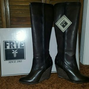 ed2a3e647e3 Frye Shoes - FRYE CECE Seam Tall Slate Leather Wedge Boot