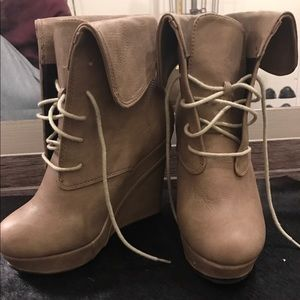 Shoes - Tie up boot wedges