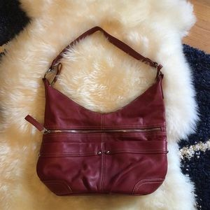 Ellen Tracy Rich Burgundy Shoulder Tote