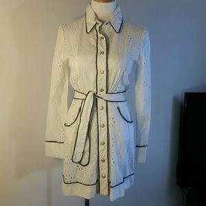Abaete Dresses & Skirts - Beautiful eyelet lace shirt dress NWT
