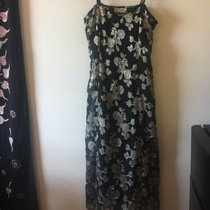 Dresses & Skirts - Black and silver flowered Spaghetti strap dress