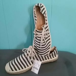 J. Crew Shoes - J. Crew Lace Up Striped Espadrilles