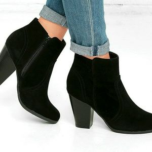 Lulu's Shoes - Black suede ankle booties. New in box 6.5