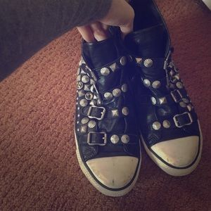 Ash Shoes - Ash biker spike studded leather sneakers preloved
