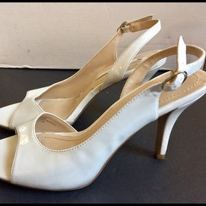 Nine West Bankhead white strappy heels