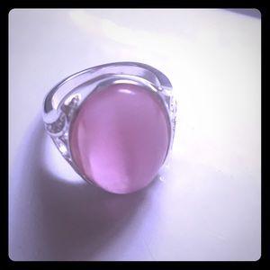 custom Jewelry - Women's size 7 sterling silver pink Cat's Eye