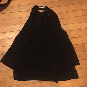 Zara black bow blouse chiffon tank top sz XS