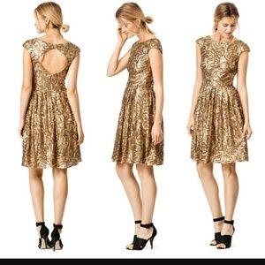 Badgley Mischka Dresses & Skirts - Badgley Mischka Golden Flower Cocktail Dress