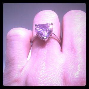 custom Jewelry - Sterling silver size 5 pink heart sapphire