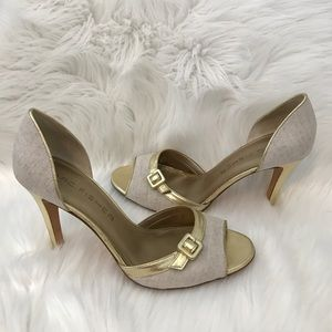 Marc Fisher Shoes - MARC FISHER Linen & gold peep toe pumps