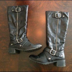 kohls Shoes - Black biker boots, 6.5