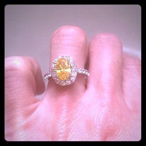 Custom Jewelry - Genuine citrine topaz size 6 sterling silver ring