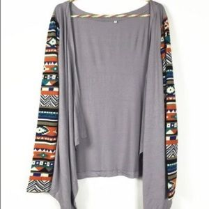 gray irregular cardigan