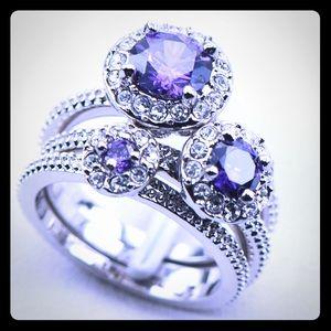 custom Jewelry - Size 5 trio set of purple amethyst silver rings