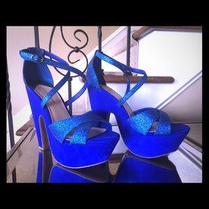 Gianni Bini Shoes - Blue glitter platform sandals