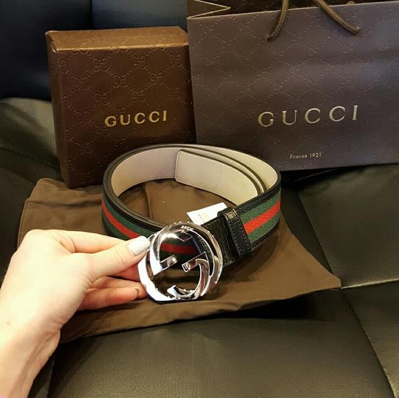 7f663c79c Gucci Accessories   Black Canvas Logo Mens Belt Silver Buckle   Poshmark