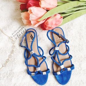 Ava & Aiden  Shoes - Ava & Aiden Blue Suede Rope Sandals