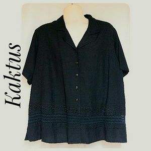 Kaktus Women's  Black Linen Blend Top Size 2X