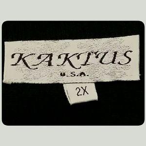 Kaktus Tops - Kaktus Women's  Black Linen Blend Top Size 2X