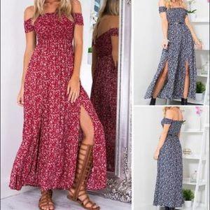 Dresses & Skirts - burgundy floral open shoulder maxi dress