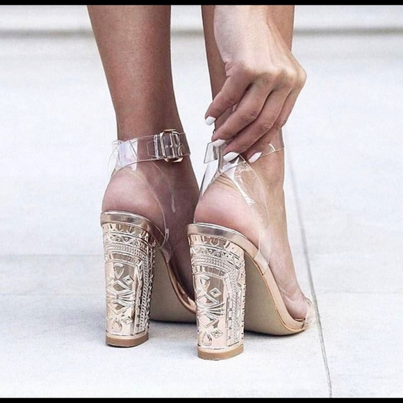 a0c3b1a4a42 Rose gold statement block heels Perspex straps