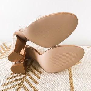 129518ec91b Zara Shoes - Rose gold statement block heels Perspex straps