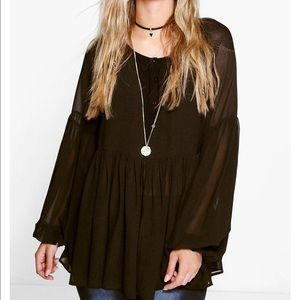 Boohoo Plus Tops - BooHoo plus sheer top