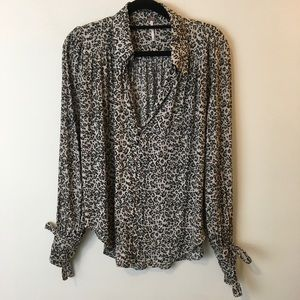 Free People Tops - NWT FREE PEOPLE Leopard Button Blouse Top