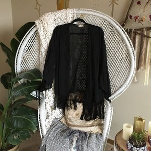 Other - Black floral embroidered fringe Kimono