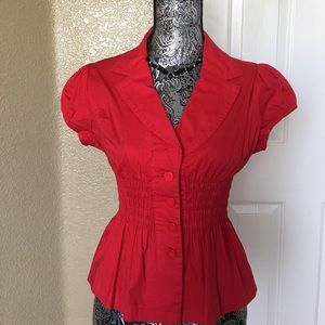 poetry Tops - Bright Red Button Down