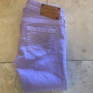 True Religion Size 28 x 25 Purple Capri Jeans