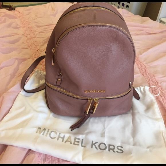 4044b6fe44c07e Michael Kors Rhea Zip Medium Backpack- Dusty Rose.  M_58dc26514e8d1773e300825f