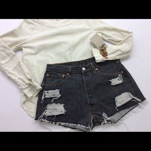 Levi's gray wash distressed cut off jean shorts