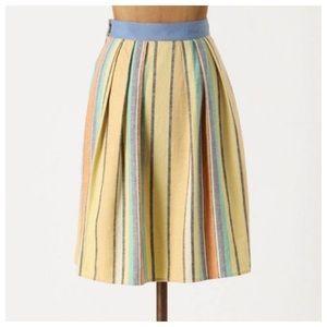 Anthro Stripe Linen Skirt