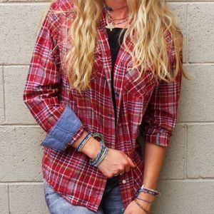 Mossimo Supply Co. Tops - Beautifully Colored Western Plaid Snap Up