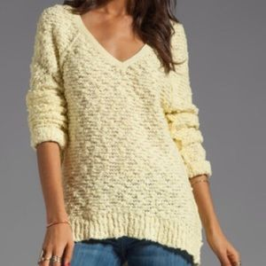 Free People Sweater Shaggy Knit Pullover V Neck