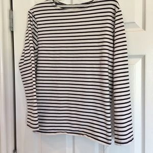 "Garnet Hill Tops - Garnet Hill tee white/navy 1/4"" stripe long slv LG"
