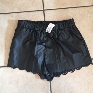 Lush Pants - Lush scalloped faux leather shorts