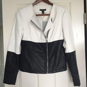 INC International Concepts Jackets & Blazers - EUC Faux Leather Asymmetrical Zip Moto Jacket