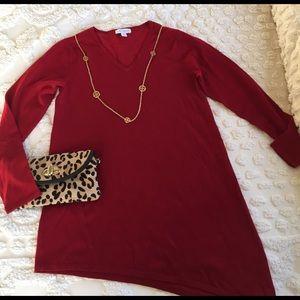 Susan Graver Tops - 🌷SALE🌷 Red tunic, asymmetrical hem