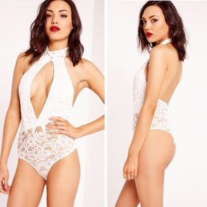 Missguided Tops - NWT Missguided Lace Choker Bodysuit