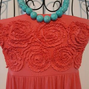 Design History Dresses & Skirts - Rosette-topped coral strapless