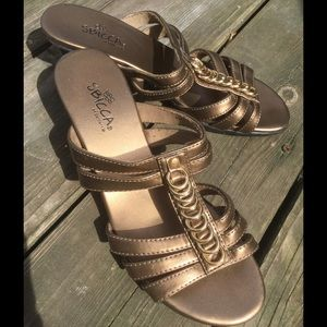 Sbicca Shoes - Copper and gold ring accent heels
