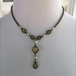 Pretty! Green/Pearl Goldtn Necklace