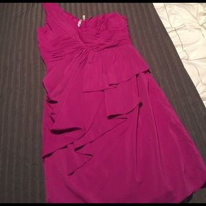 One Shoulder Fuchsia Cocktail Dress