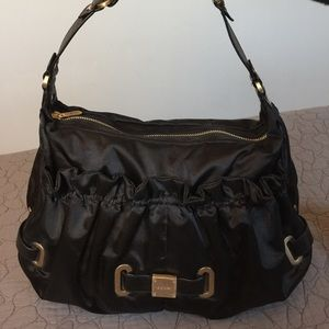 Botkier Satin and Leather Satchel