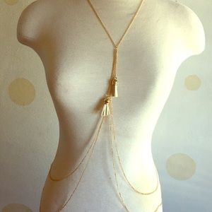 Boho Gypsy Sisters Jewelry - Boho Gold and white tassel body chain