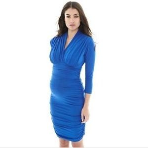 Isabella Oliver Dresses & Skirts - Maternity blue ruched dress