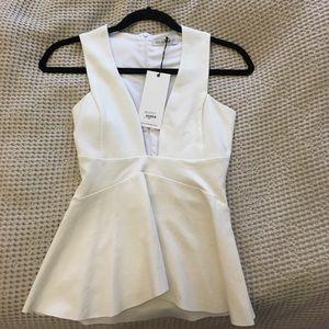 Bec & Bridge Tops - Ivory sleeveless plunging Vneck top